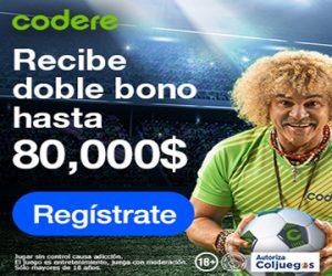 Banner primer depósito doble bono Codere Colombia